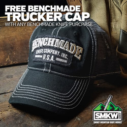 Free Benchmade Trucker Hat (PDBM50014) with Any Benchmade Knife Purchase! Limit 1 per order. While supplies last.