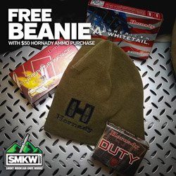 Hornady Beanie Promo - Every Order with $50 of Hornady ammo or more gets a free Hornady Beanie!