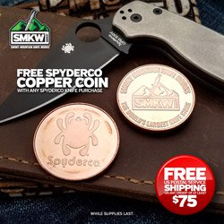 Free Spyderco Collectors Coin (SPYCOIN) with Spyderco Knife Purchase! Web-only. 1 for 1. For a limited time while supplies last.