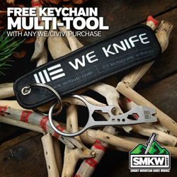 Free Keychain Multi-Tool (PDWKCOPENER) with any WE/CIVI Knife Purchase! Limit 1 per order. While Supplies Last.
