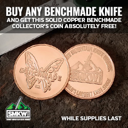 Free Benchmade Collectors Coin with Benchmade Knife Purchase. Limit 1 per order. While supplies last.