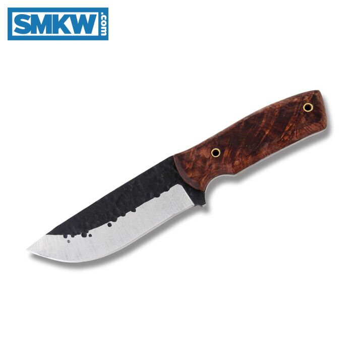 Gti Custom Forged Hunter Fixed Blade Knife With Wood Handle And Forged With Satin Grind 1095 Stainless Steel 4 75 Plain Edge Drop Point Blade Model Fh Smkw