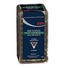 CCI TNT Green 22 Winchester Magnum Rimfire 30 Grain Lead Free  Hollow Point 50 Rounds
