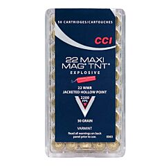 CCI Maxi-Mag TNT 22 Winchester Magnum Rimfire Jacketed Hollow Point 50 Rounds