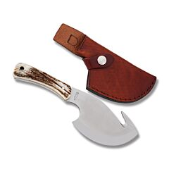 Uncle Henry Gut Hook Fixed Blade D2 Tool Steel Blade Stag Handle