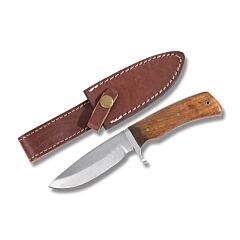 """Large Hunting Knife with Cocoa Pakkawood Handles and Stainless Steel 4.50"""" Drop Point Plain Edge Blades"""