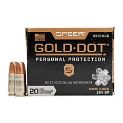 Speer Gold Dot 9MM Luger 124 Grain Hollow Point 20 Rounds