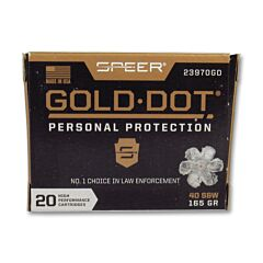 Speer Gold Dot 40 S&W 165 Grain Jacketed Hollow Point 20 Rounds