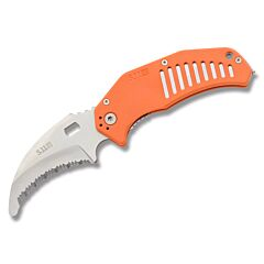 "5.11 LMC Curved Rescue with Orange FRN handle and 3.25"" AUS-8 Stainless Steel Saw Tooth Rescue Blade Model 51086"