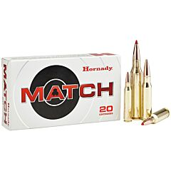 Hornady Match 308 Winchester 178 Grain Jacketed Hollow Point Boat Tail 20 Rounds