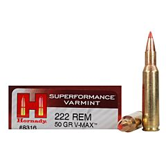 Hornady Superformance 222 Remington 50 Grain V-Max Polymer Tip Flat Base 20 Rounds