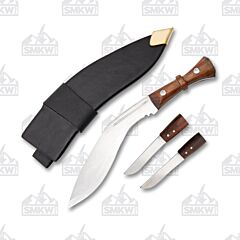 Gurkha Kukri with Mini Knives and Brown Wood Handle