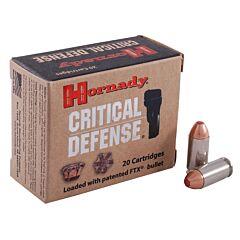 Hornady Critical Defense 40 S&W 165 Grain Flex Tip Expanding 20 Rounds