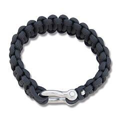 "Combat Ready Black 9"" Survival Bracelet with Metal Buckel"