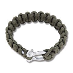 "Combat Ready OD Green 9"" Survival Bracelet with Metal Buckle"