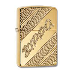 Zippo Armor Diagonal Logo Brass Lighter