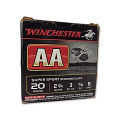 Winchester AA Super Sport Sporting Clays 20 Gauge 7/8oz #8 Shot 25 Rounds