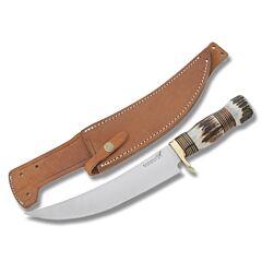 "Blackjack Kentucky Long Hunter with Genuine Stag Handles and Surgical Steel 8.50"" Skinner Plain Edge Blades Model NSI-648/604 HDL/GD"