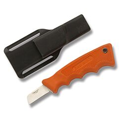 "Bear & Son Powergrip Utility Knife with Orange Kraton Handle and Satin Finish High Carbon Stainless Steel 1.625"" Sheepsfoot Blade Model BR46614"