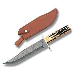 "Bear & Son Damascus American Bowie with India Stag Bone Handle and Damascus Steel 7.625"" Clip Point Plain Edge Blade and Leather Belt Sheath Model 501D"