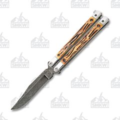 Bear & Son Damascus India Stag Butterfly Knife