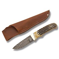 "Bear & Son Hunter with India Stag Bone Handle and Damascus Steel 3.688"" Drop Point Plain Edge Blade Model 549D"