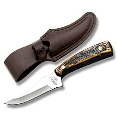 "Bear & Son Upswept Skinner with Imitation Stag Handle and High Carbon Stainless Steel 3.25"" Skinning Plain Edge Blade and Leather Belt Sheath Model 753"