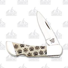 Bear & Son Bear Branded White Midsize Lockback High Carbon Stainless Steel Blade Bone Handle