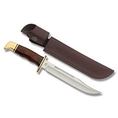 "Buck 120 General with Cocobolo Dymondwood Handle and Satin Finish 420HC Stainless Steel 7.188"" Clip Point Plain Edge Blade with Brown Leather  0120BRS"