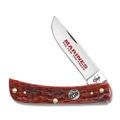 Case U.S. Armed Forces Marine Corps Dark Red Jigged Bone Sod Buster Jr Tru-Sharp Surgical Steel Blade