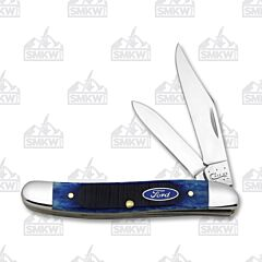 "Case Ford Motor Company Medium Texas Jack 3.50"" with Sawcut Blue Bone Handles and Tru-Sharp Surgical Steel Plain Edge Blades Model 14303"