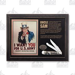 "Case US Army Uncle Sam Trapper 4.125"" with Natural Bone Handles and Tru-Sharp Surgical Steel Plain Edge Blades Model 15011"