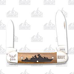 Case Antique Smooth Bone Navy Canoe