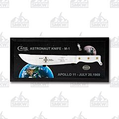 Case Astronaut Knife M-1 Model 2019 Carbon Steel Blade White Synthetic Handle Black Wooden Display