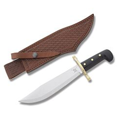 "Case Bowie with Black Composition Handles and Tru-Sharp Surgical Steel 9.125"" Clip Point Plain Edge Blades and Leather Sheath Model 286"
