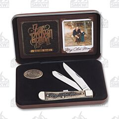 "Case and Zac Brown Band Southern Grind My Old Man Trapper 4.125"" with Natural Bone Handles and Tru-Sharp Surgical Steel Plain Edge Blades Model 48260"
