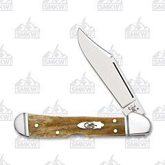 "Case Mini CopperLock 3.625"" with Smooth Antique Bone Handles and Tru-Sharp Surgical Steel Plain Edge Blades Model 58186"