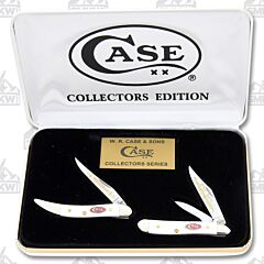 Case Grandfather & Grandson Jigged White Delrin Peanut & Toothpick Set