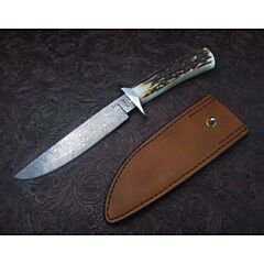 Mike Ruth custom fighter fixed blade 6.625 Damascus blade with stag handles plain blade edge