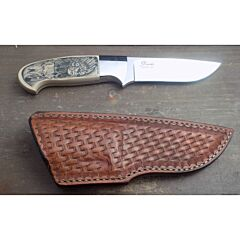 D' Holder custom Drop Point knife 3.875 inch blade with ivory micarta handles and custom scrimshaw ATS 34 stainless steel plain blade edge