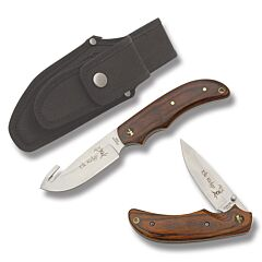 Master Cutlery Elk Ridge Hunting Set with Wood Handles and Stainless Steel Plain Edge Blades Model ER-013