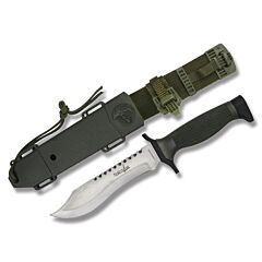 "Master Cutlery Survivor Bowie with Rubber Handles and Stainless Steel 5"" Clip Poin Plain Edge Blades Model HK-6001S"