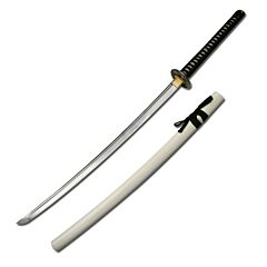Master Cutlery Hand Sharpened Carbon Steel Katana with White Finish Scabbard
