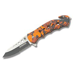 Tac Force Spring Assisted Rescue Knife Stainless Steel Blade Red Aluminum Handle