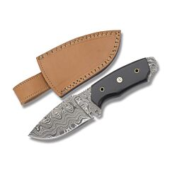 Damascus Wide Belly Fixed Blade Buffalo Horn