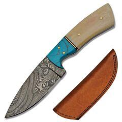 Rite Edge Drop Point Skinner Damascus Steel Blade Bone Handle