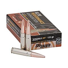 Sig Sauer Elite Performance 300 AAC Blackout 120 Grain Solid Copper Lead Free Expanding 20 Rounds