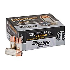 Sig Sauer Elite Performance 380 ACP 90 Grain V-Crown Jacketed Hollow Point 20 Rounds