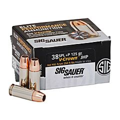 Sig Sauer Elite Performance 38 Special +P 125 Grain V-Crown Jacketed Hollow Point 20 Rounds