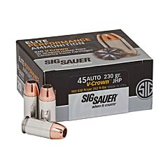 Sig Sauer Elite Performance 45 ACP 230 Grain V-Crown Jacketed Hollow Point 20 Rounds